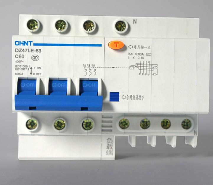 DZ47漏电断路器详细信息 品牌:正泰 极数:根据订单 额定频率:50-60(Hz) 额定绝缘电压:380(V) 脱扣器电流:65(A) 产品认证:CCC 安装方式:根据订单 速度:普通型 灭弧介质:空气式 操作方式:电动操作 型号报价:可咨询 DZ47漏电断路器产品展示图  DZ47漏电断路器工作原理 断路器一般由触头系统、灭弧系统、操作机构、脱扣器、外壳等构成。当短路时,大电流(一般10至12倍)产生的磁场克服反力弹簧,脱扣器拉动操作机构动作,开关瞬时跳闸。当过载时,电流变大,发热量加剧,双金属片变形
